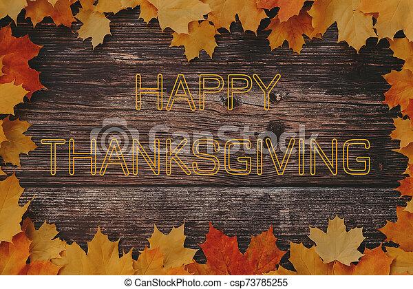 plano de fondo, acción de gracias, feliz, arce, marco, texto, hojas, saludo, de madera - csp73785255