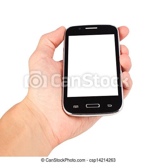 Mantiene un teléfono inteligente aislado en un fondo blanco - csp14214263