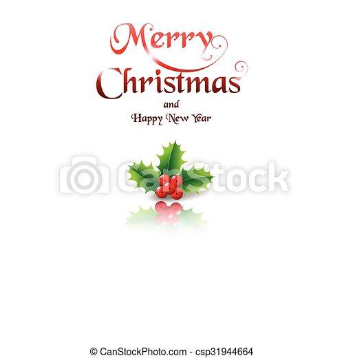 Feliz Navidad con Holly sobre fondo blanco - csp31944664