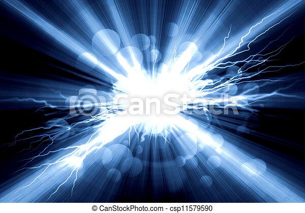 Un relámpago eléctrico en un fondo azul - csp11579590