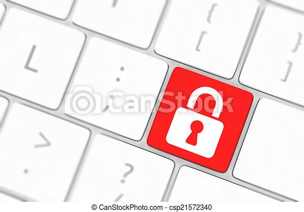 Introduce el botón con Cerradura en el teclado de fondo - csp21572340