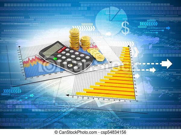 Carta de negocios con antecedentes financieros calculadoras - csp54834156