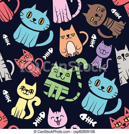 plano de fondo, colorido, patrón, seamless, gatos - csp82809106