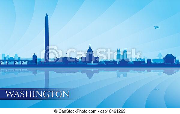 Washington City skyline silueta fondo - csp18461263
