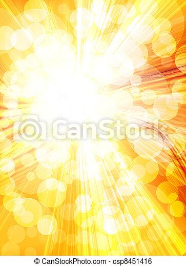 Sol brillante en un fondo dorado - csp8451416