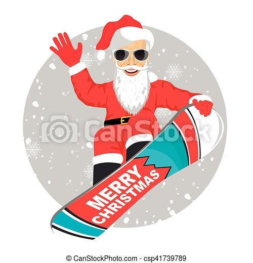El salto de snowboard de Santa Claus aislado sobre el fondo blanco - csp41739789
