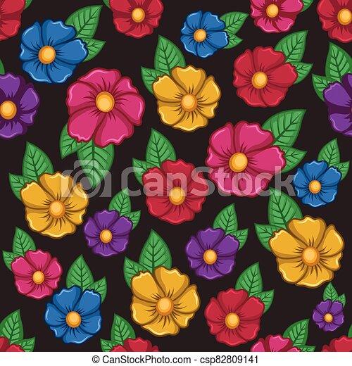 plano de fondo, flor, colorido, patrón, seamless - csp82809141