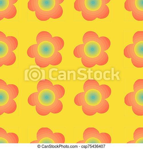 plano de fondo, flores, patrón, colorido, seamless, impresión - csp75436407