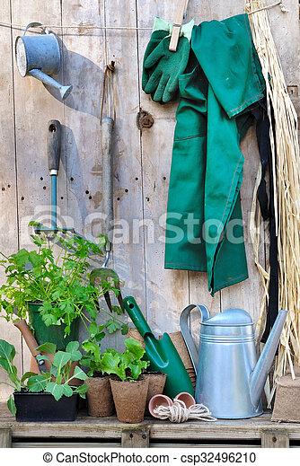 Herramientas de jardinería en el fondo de madera - csp32496210