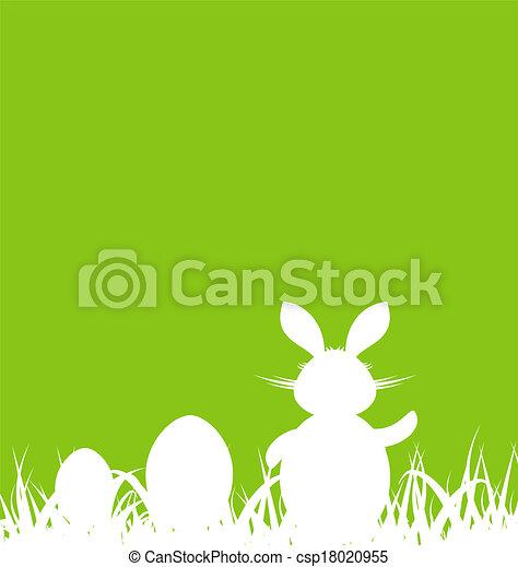 plano de fondo, huevos, verde, conejo, pascua, caricatura - csp18020955