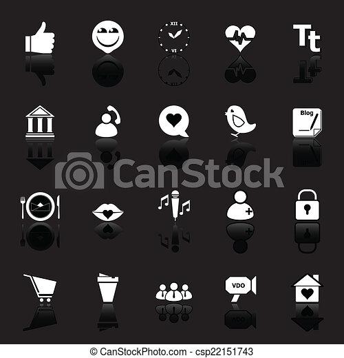 Iconos de conversación con reflejos en el fondo negro - csp22151743