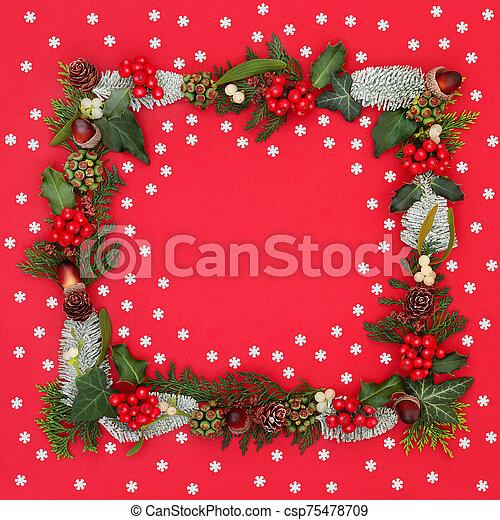 plano de fondo, invierno, navidad, frontera - csp75478709