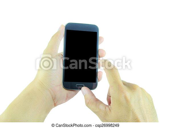 Mano sosteniendo teléfono inteligente en fondo blanco - csp26998249