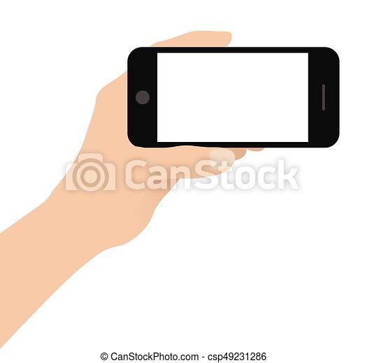 Mano sosteniendo teléfono inteligente en fondo blanco - csp49231286