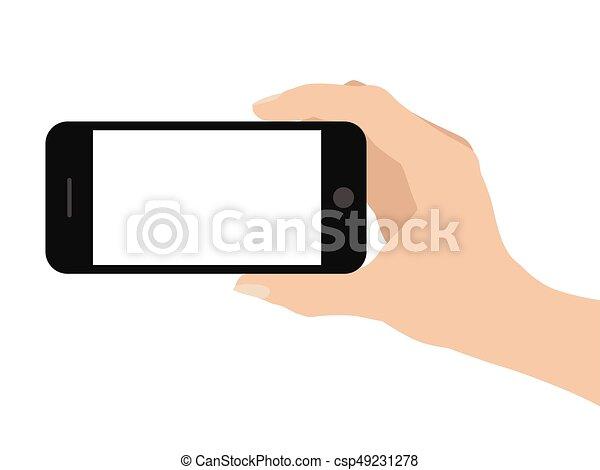 Mano sosteniendo teléfono inteligente en fondo blanco - csp49231278