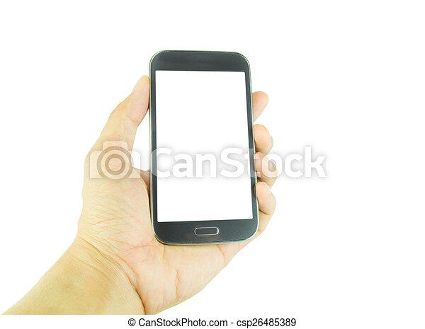 Mano sosteniendo teléfono inteligente en fondo blanco - csp26485389