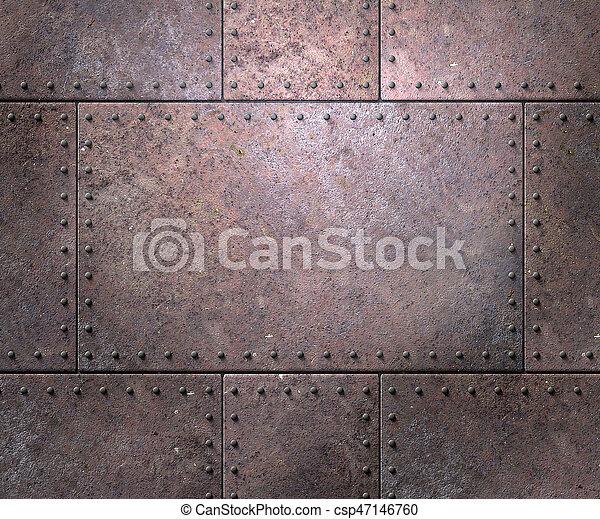 Textura metálica con remaches de fondo - csp47146760