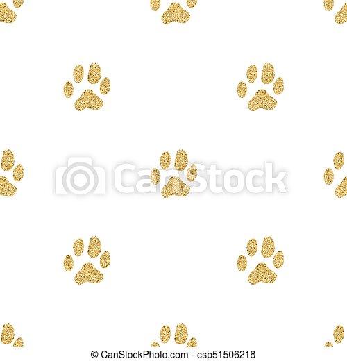 Patrón de rastreo animal sin brillo dorado en el fondo blanco - csp51506218