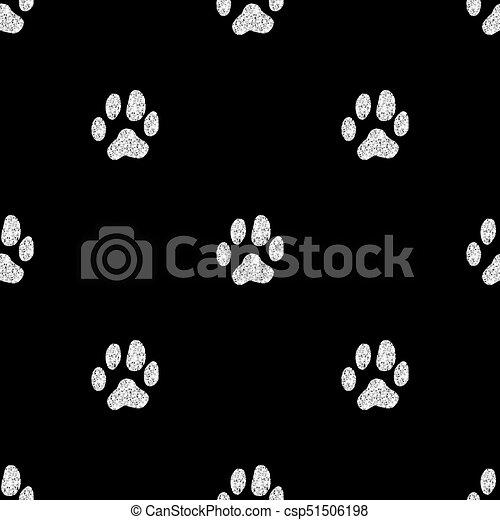 Patrón de rastreo animal sin brillo dorado en el fondo blanco - csp51506198