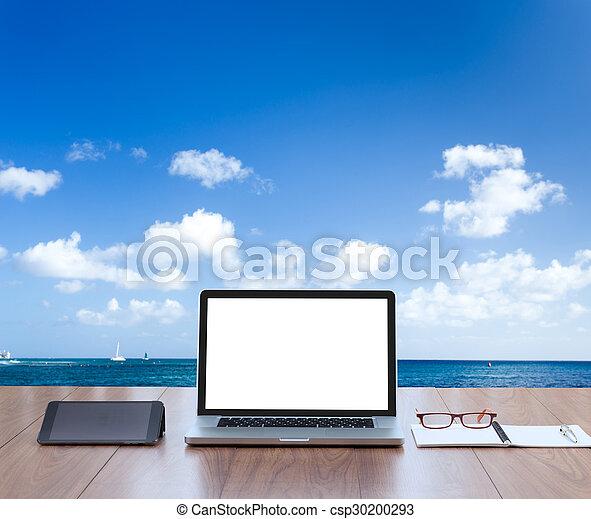 Plano De Fondo Pantalla Computadora Mar Blanco Computador Portatil