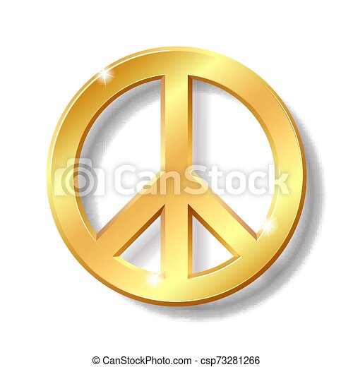 Simbolo de paz dorado aislado en el fondo blanco - csp73281266