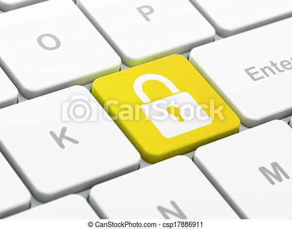 Concepto de protección: cerrado Padlock en el fondo del teclado - csp17886911