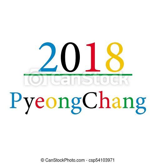 Pyeongchang 2018 sobre fondo blanco - csp54103971