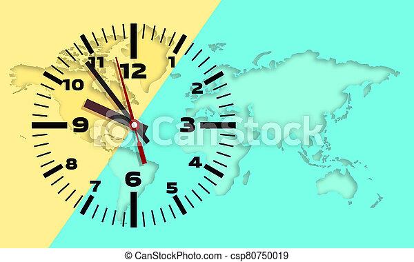 plano de fondo, reloj, pared, mapa del mundo - csp80750019