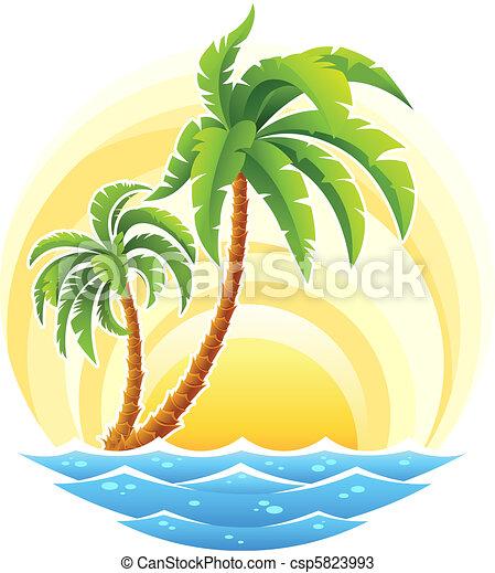 Palma tropical con onda marina en fondo soleado - csp5823993