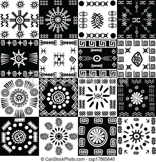 Antecedentes tribales, conjunto de elementos étnicos - csp17865640