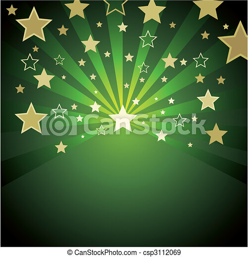 Antecedentes verdes con estrellas doradas - csp3112069