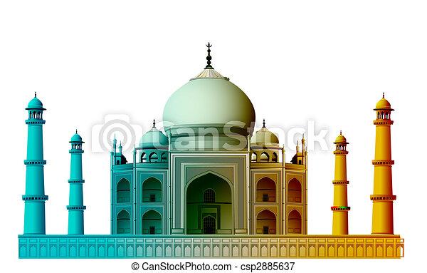 Vista del Taj Mahal, agra, India con antecedentes blancos - csp2885637
