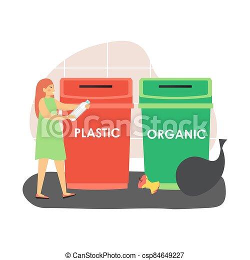 plano, desperdicio, botella, plástico, clasificación, ecologista, ilustración, botede basura, recycling., mujer, lanzamiento, rojo, vector - csp84649227