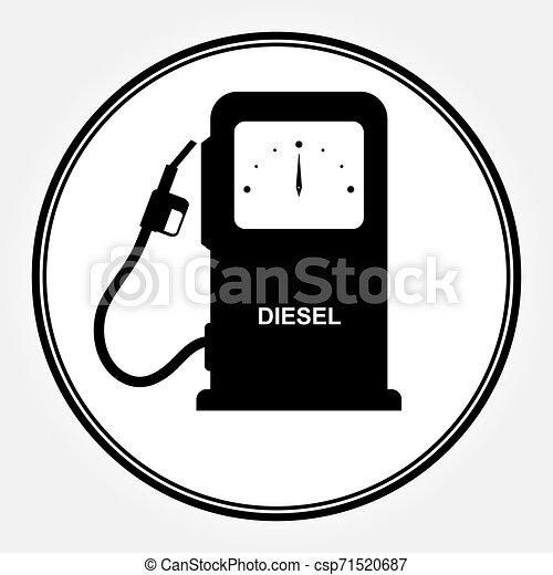 Columna para llenar coches con combustible diesel. Un icono plano que dice DIESEL. - csp71520687