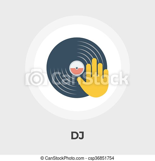 Plano, disco, vinilo, icono. Disco, plano, illustration., pizca ...