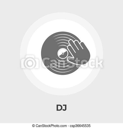 Plano, disco, vinilo, icono. Disco, plano, illustration ...
