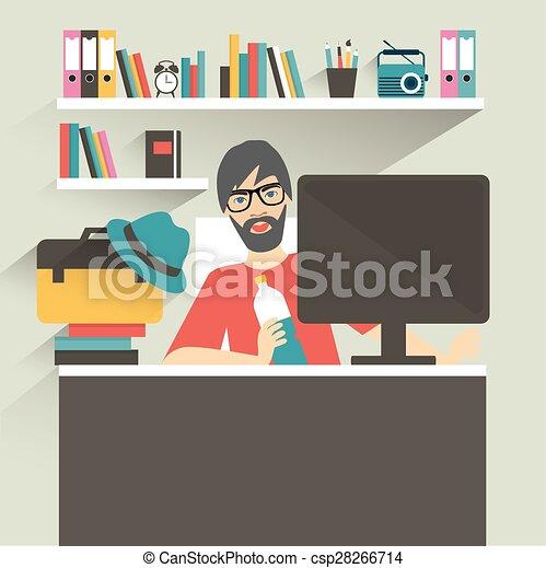 Lugar de trabajo de oficina. Hipster, estilo diseñador. Ilustración vectorial plana. - csp28266714