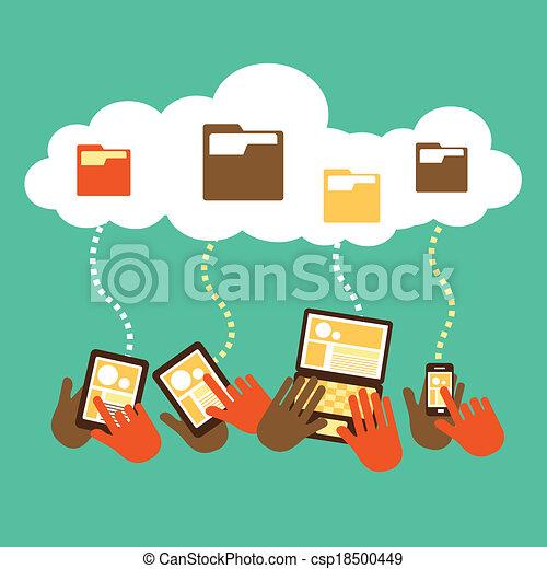 plano, diseño, concepto, almacenamiento, nube - csp18500449