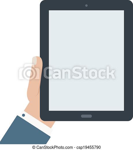 plano, diseño, tableta, tenencia, blanco - csp19455790