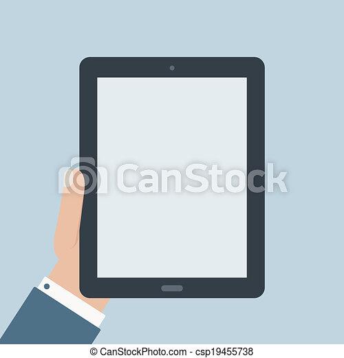 plano, diseño, tableta, tenencia, blanco - csp19455738
