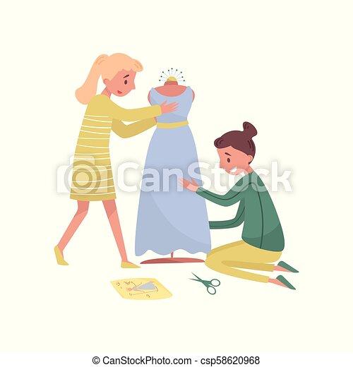 Dos jóvenes cosen vestidos. Profesión de diseñador de moda. Mujeres modistas en el trabajo. Ilustración vectorial plana - csp58620968
