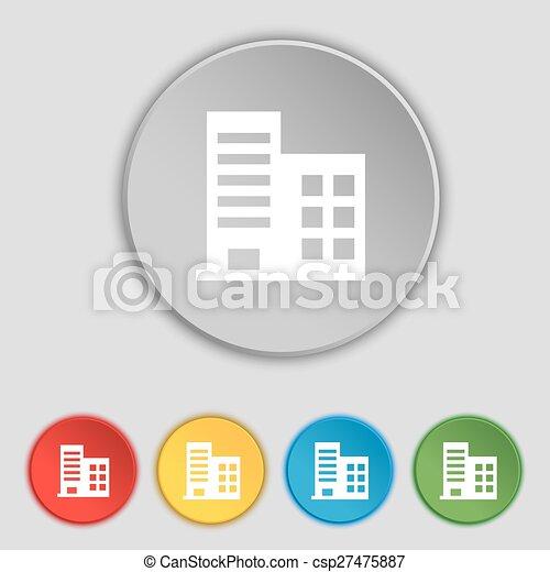 Plano, edificios, buttons., apartamentos, residencial, signo., torre ...
