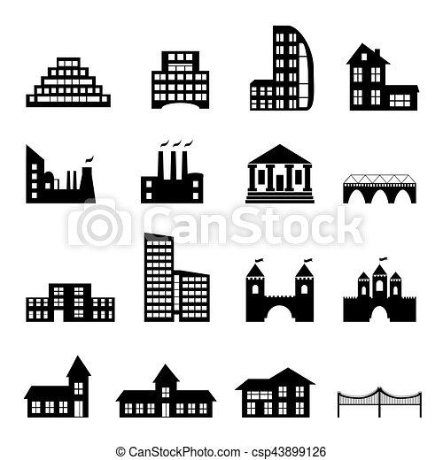 Edificios planos iconos negros - csp43899126
