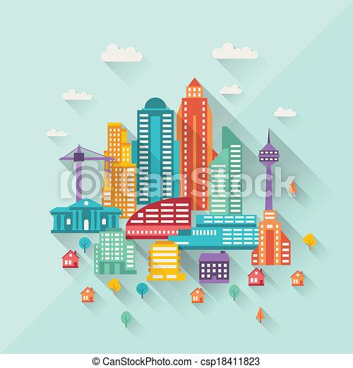 Ilustración de paisajes con edificios de diseño plano. - csp18411823