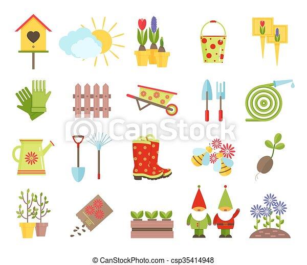 Plano elementos jardiner a jard n iconos otro for Elementos de jardineria