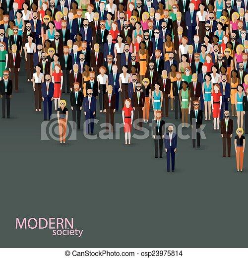 plano, empresa / negocio, cuervo, ilustración, community., vector, política, o - csp23975814