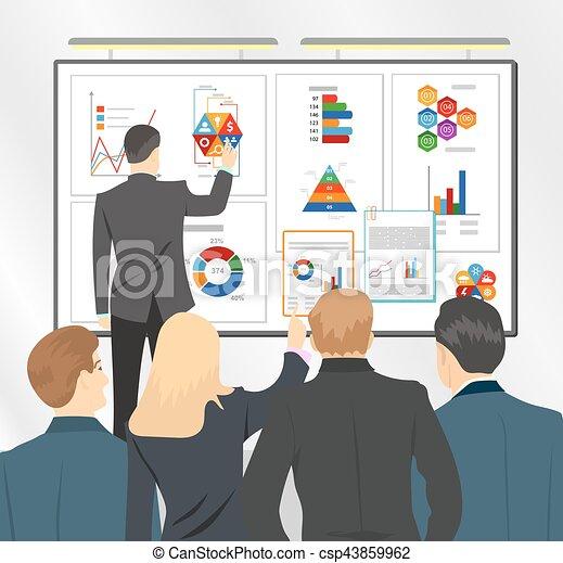 Director de ventas presentando plan de negocios al equipo. Ilustración de vectores planos - csp43859962