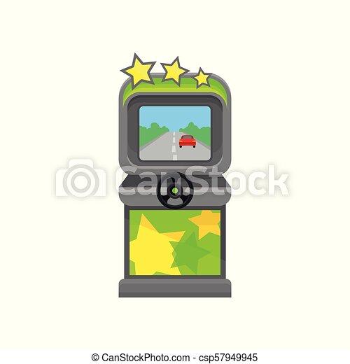 Una máquina de juegos de videojuegos con volante. Elemento vectorial plano para el póster promocional o la pancarta del centro de entretenimiento - csp57949945