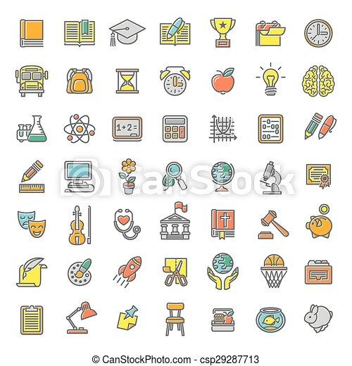 plano, escuela, colorido, iconos, temas, línea - csp29287713