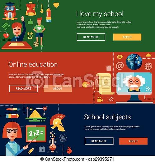 Un conjunto de volantes de diseño plano, titulares, carteles con iconos escolares, elementos de infografía - csp29395271